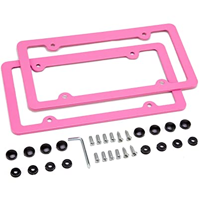 Simchoco License Plate Frame, Pink License Plate Frame 2 Pcs 4 Holes Matte Aluminum Frame with Chrome Screw Caps for US Vehicles: Automotive