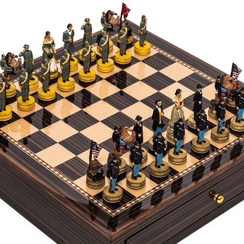 American Civil War Chess (American Civil War Chessmen & Seventh Avenue Maple & Walnut Chess Board/Cabinet with Two Drawers)