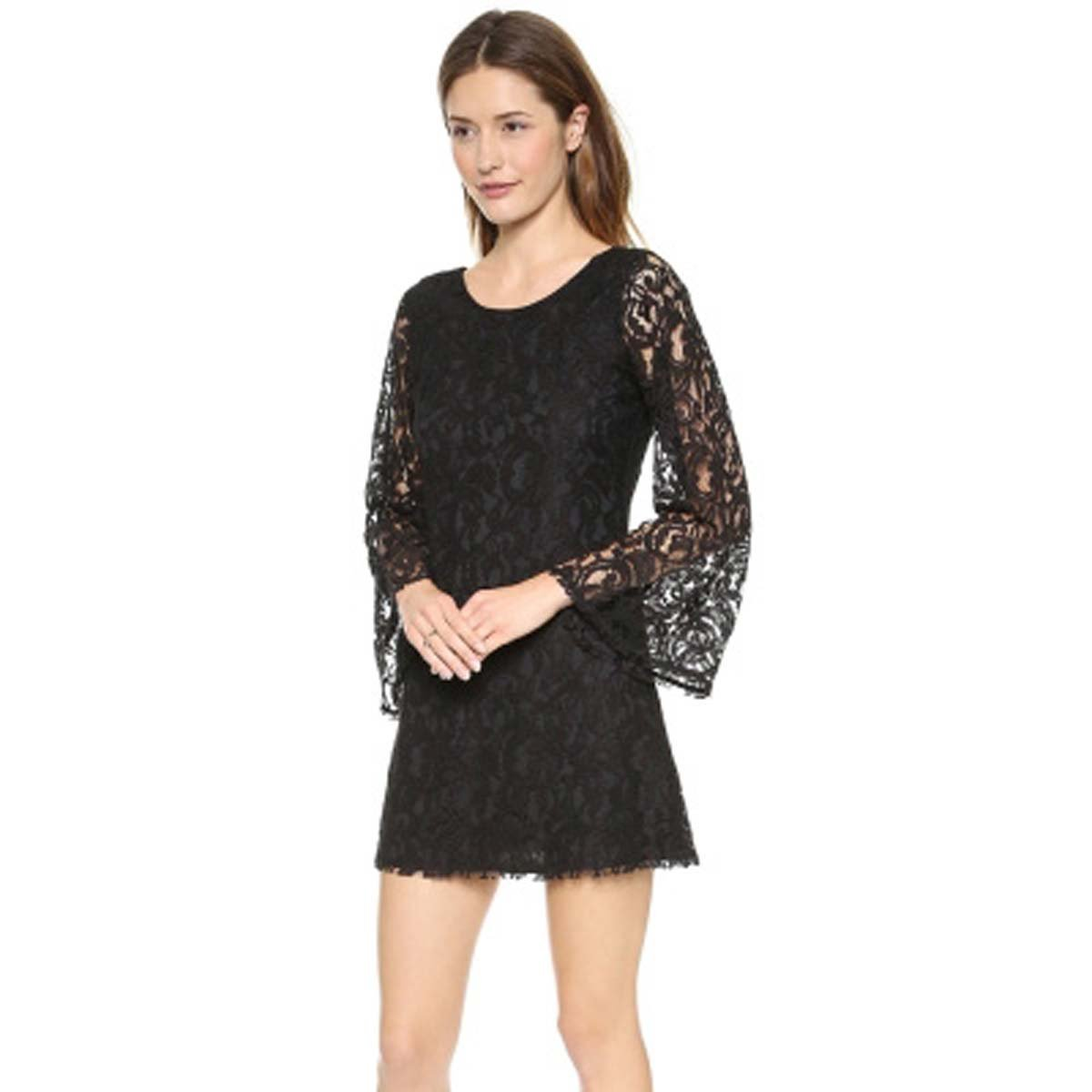 a0c2d706d0f29 WeHeart Women Black Flared Sleeve Lace Mini Dress at Amazon Women's Clothing  store:
