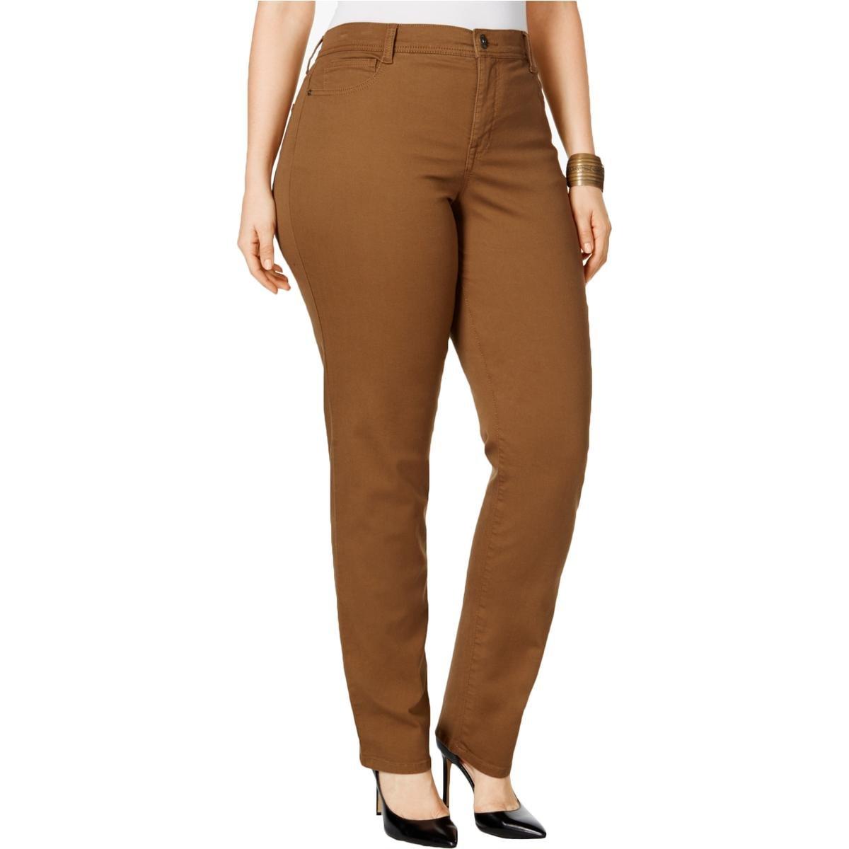 Style & Co. Womens Plus Tummy Slimming High Rise Slim Leg Jeans Brown 14W