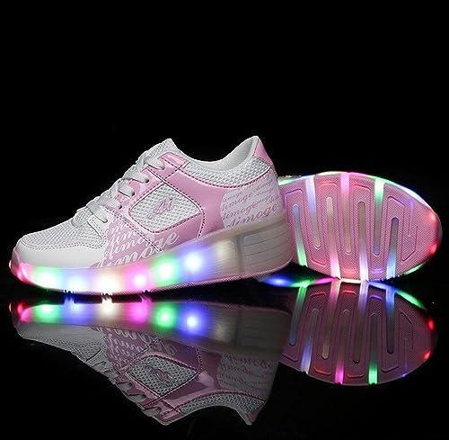 Zapatillas con ruedas para niños, con iluminación LED Heelys, cambia de color, 7 colores, color rosa, talla 34: Amazon.es: Zapatos y complementos