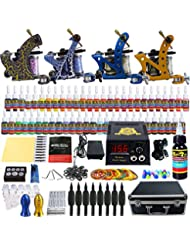 Solong Tattoo Complete Tattoo Kit 4 Pro Machine Guns 54 Inks Power Supply Foot Pedal Needles Grips Tips Carry Case TK453