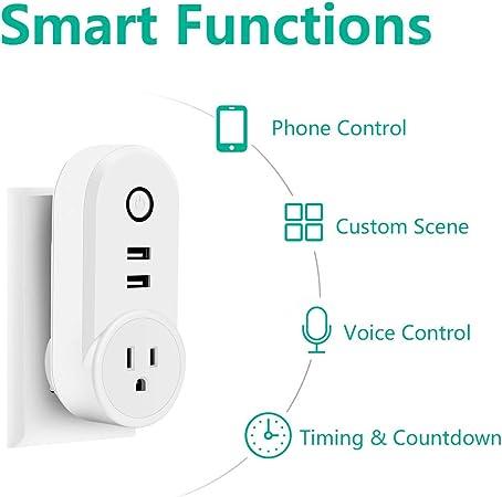 Smart WLAN Steckdose ohne Hub ben/ötig Timer Funktion Mini Smart Home Alexa Steckdose Intelligente Plug WiFi Stecker Kompatibel mit Alexa und Google Home