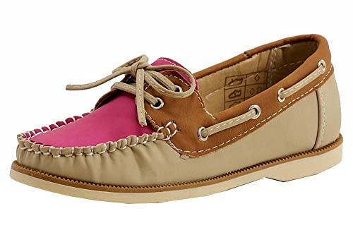amazon com easy strider girl s fashion slip on tan pink boat shoes