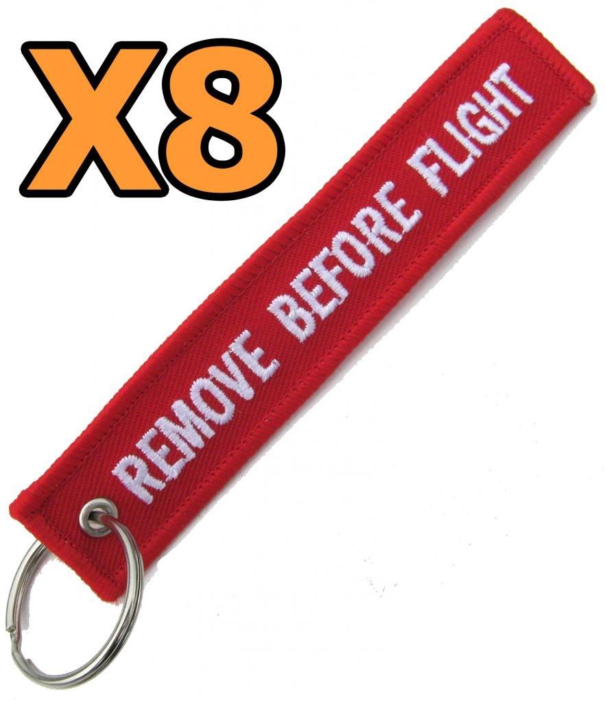 8 8x Remove Before Flight Warning Tag Keyring Keychain Pitot Cover Control Locks Etc