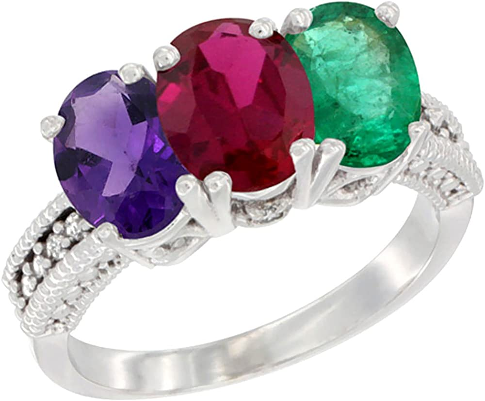 Details about  /4ct Emerald 3 Stone Natural Amethyst Promise Bridal Wedding Ring 14k White Gold
