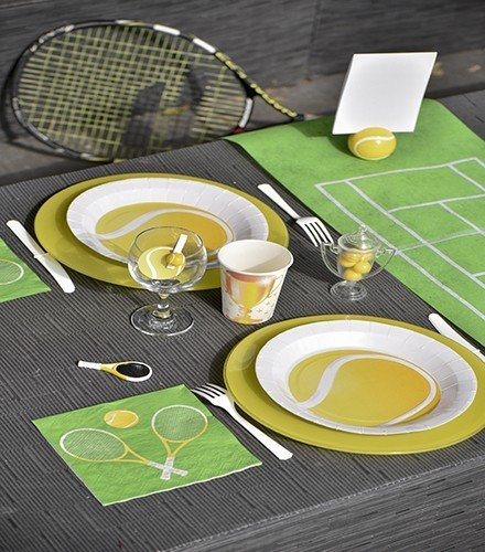 10 assiettes balle de tennis f/ête
