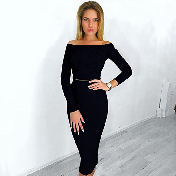 61c6439ed29ba Amazon.com  Sunward Womens Long Sleeve Off Shoulder Crop Top Midi Skirt  Outfit Two Piece Bodycon Dress  Clothing