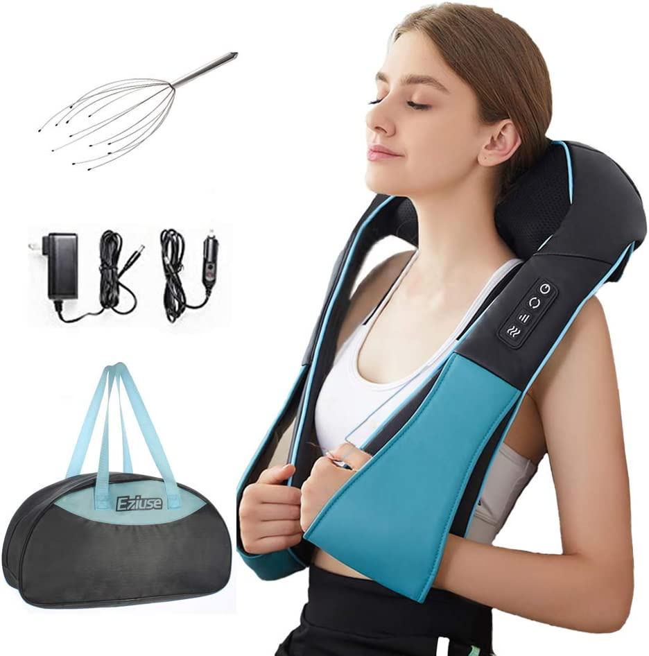 Shiatsu Back Shoulder and Neck Massager with Heat Deep Tissue 3D Kneading Pillow Massager for Relieving Muscle Pain – Blue