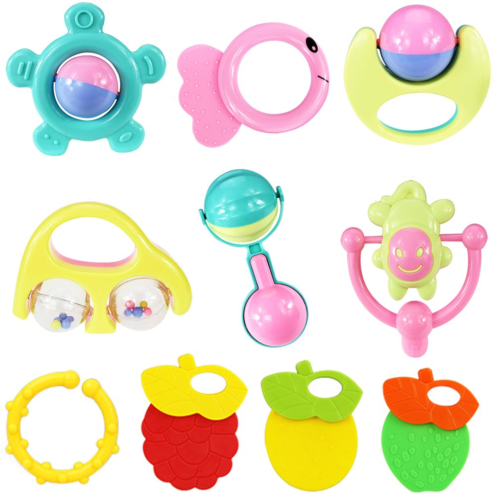 uclever Baby Rattle and TeetherおもちゃPlayセットof 10 Pieces for Chewing Practise   B01F5N5BW8