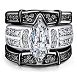AMiERY Women's Engagement Wedding Band Rings Sets Jewelry 18K Black Gold Cubic Zirconia (6)