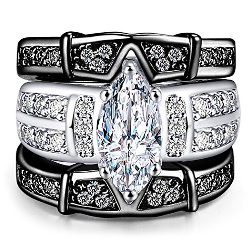 AMiERY Women's Engagement Wedding Band Rings Sets Jewelry 18K Black Gold Cubic Zirconia (6) ()