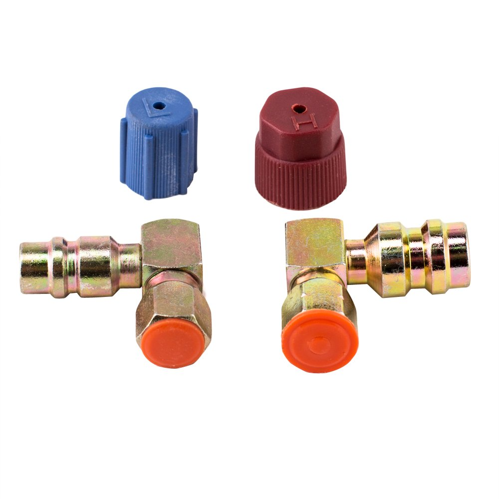 aokur 1 Pair Quick Coupler Valve A/C 90 degrees Fitting 3/8'' High Side 7/16'' Low Side R12 to R134a Adapter with 2pcs caps