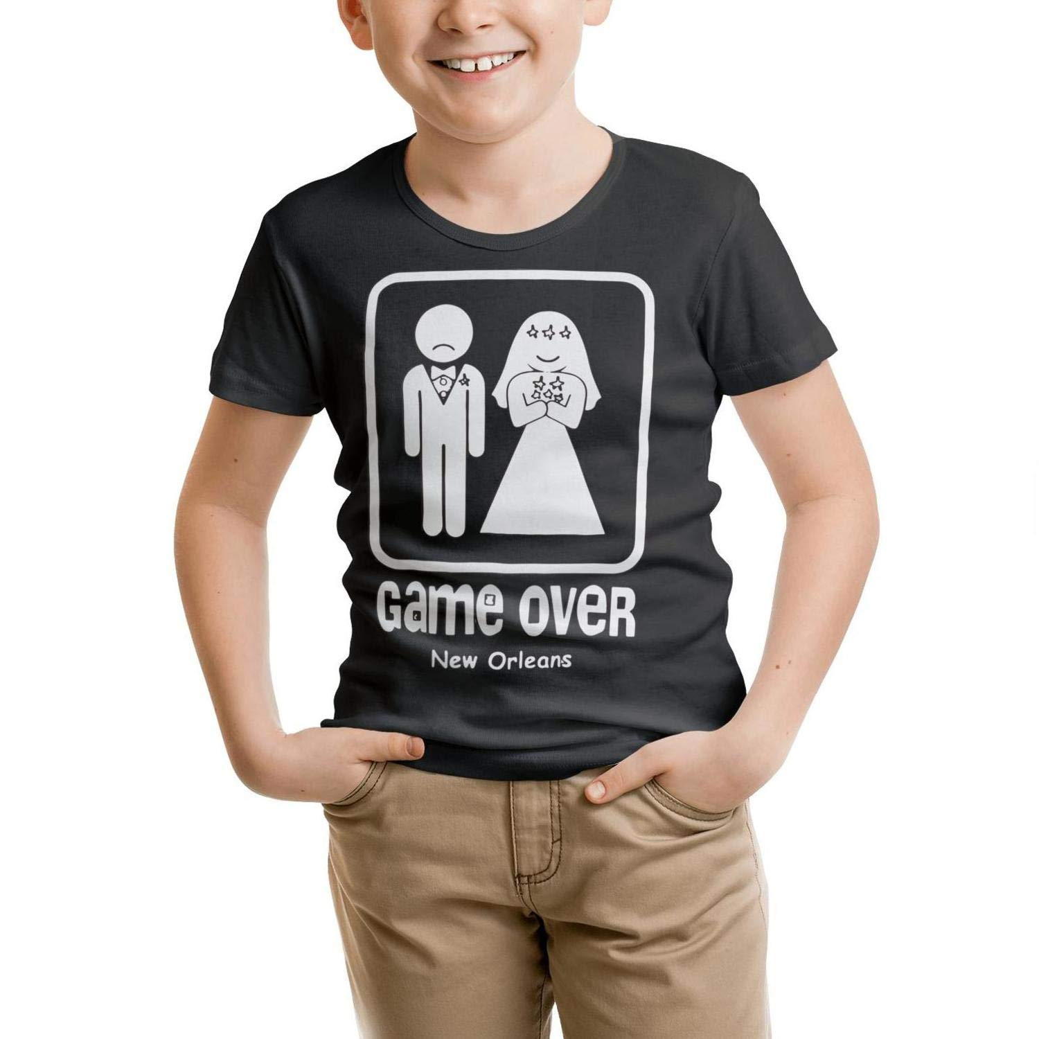 Mmuue Wedding-Game Over Black Baby Printing Short Sleeve O-Neck Tshirt Personalized Art