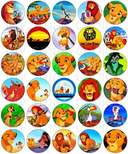 30 x Edible Cupcake Toppers – The Lion King Party Collection of Edible Cake Decorations | Uncut Edible Prints on Wafer Sheet