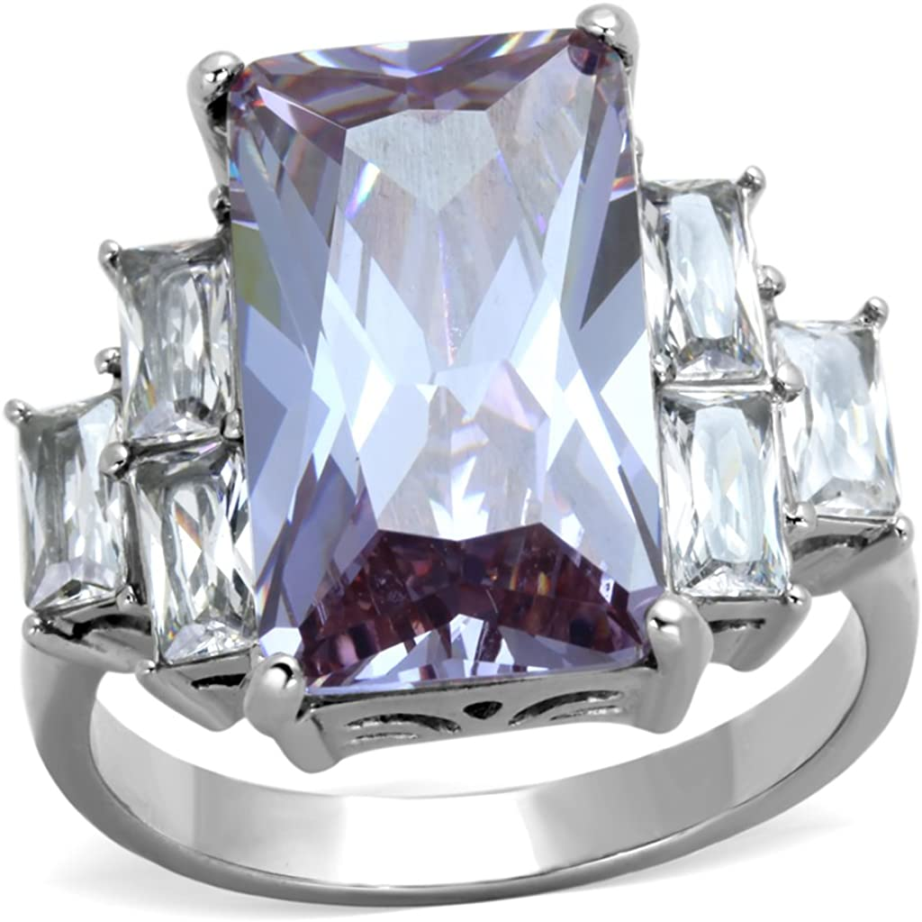 Marimor Jewelry 13.34CT Radiant Light Amethyst CZ Stainless Steel Engagement Ring Womens SZ 5-10