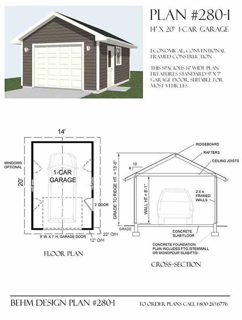 Garage Plans 1 Car Garage Plan 2801 14 x 20 one car – Garage Foundation Plans
