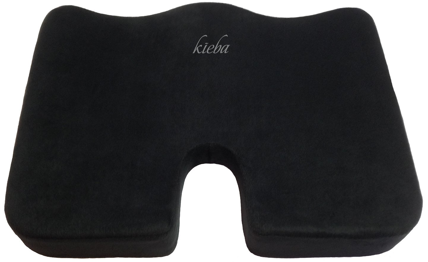 Kieba Coccyx Seat Cushion, Large Orthopedic Tailbone Pillow. Ultra Premium 100% Memory Foam Seat Cushion for Sciatica, Back, and Tailbone Pain (Black)