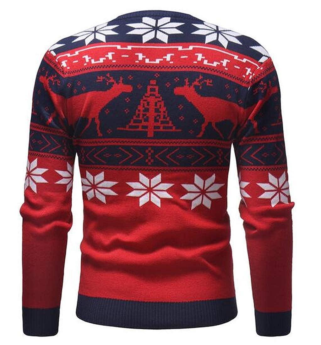 UUYUK Men Simple Xmas Print Crew Neck Long Sleeve Jumper Pullover Sweater