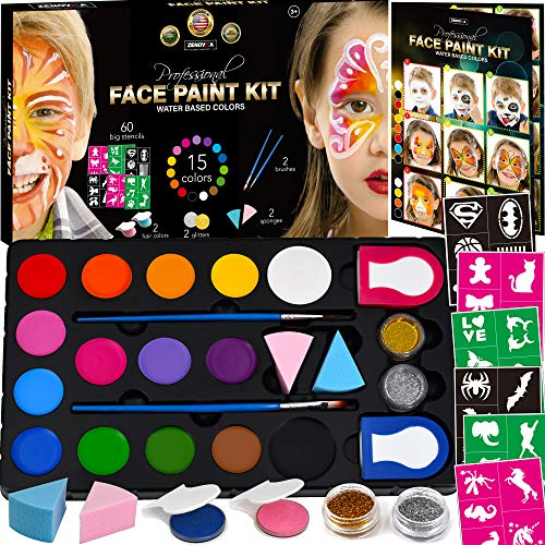 Face Paint Kit for Kids - 60 Jumbo Stencils, 15 Large Water Based Paints, 2 Glitters - Halloween Makeup Kit, Professional Face Paint Palette, Face Paints Safe for Sensitive Skin, Face Painting Book -