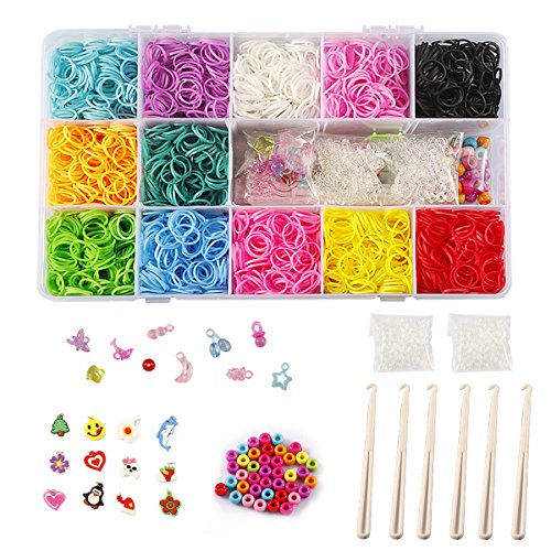 STSTECH DIY Loom Refill Kit for Crafting Gadgets Friendship Bracelet -5500 Rubber Bands Set with 6 Hooks,100 S-Clips,12 Silicone Charms,45 beads (12 Rainbow Colors) (Rubber Band Bracelets Kit)