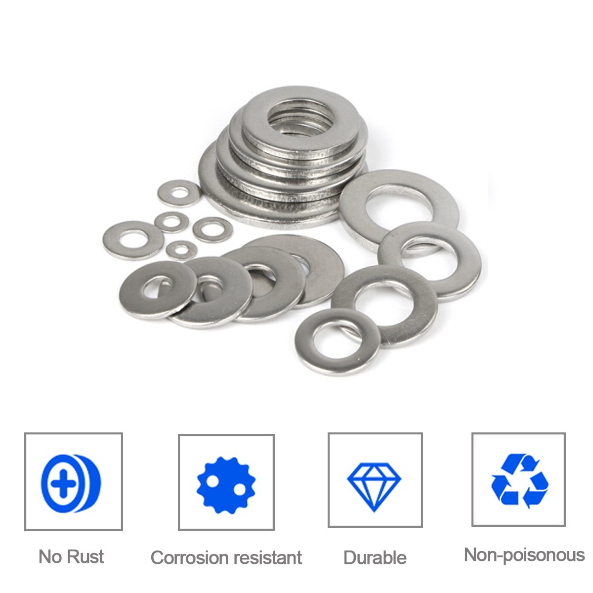 Flat Washer M8161.6 Flat washers Screw M3//M4//M5//M6//M8//M10 Washer Assortment Set Corrosion Resistant Metric 304 Steel