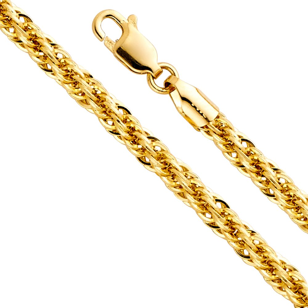 14k Yellow Gold Hollow Men's 4mm Fancy Rope Chain Necklace with Lobster Claw Clasp - 18''
