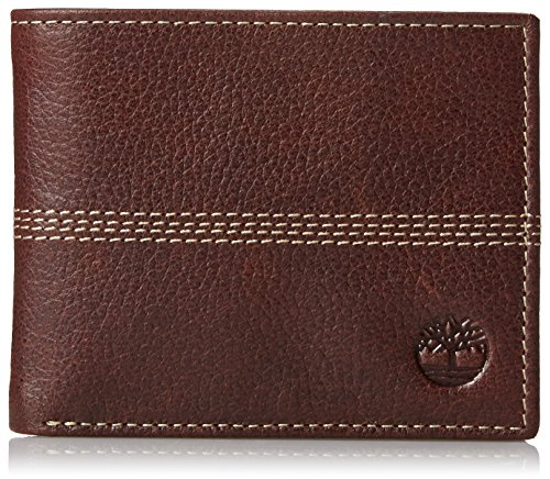 Timberland Men's Blix Slimfold Leather Wallet, Brown (Quad Stitch), One Size