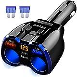 Car Charger, Otium 150W 2-Socket Cigarette Lighter Splitter QC 3.0 Dual USB Ports 1 PD 18W USB C Fast Car Adapter with Separa