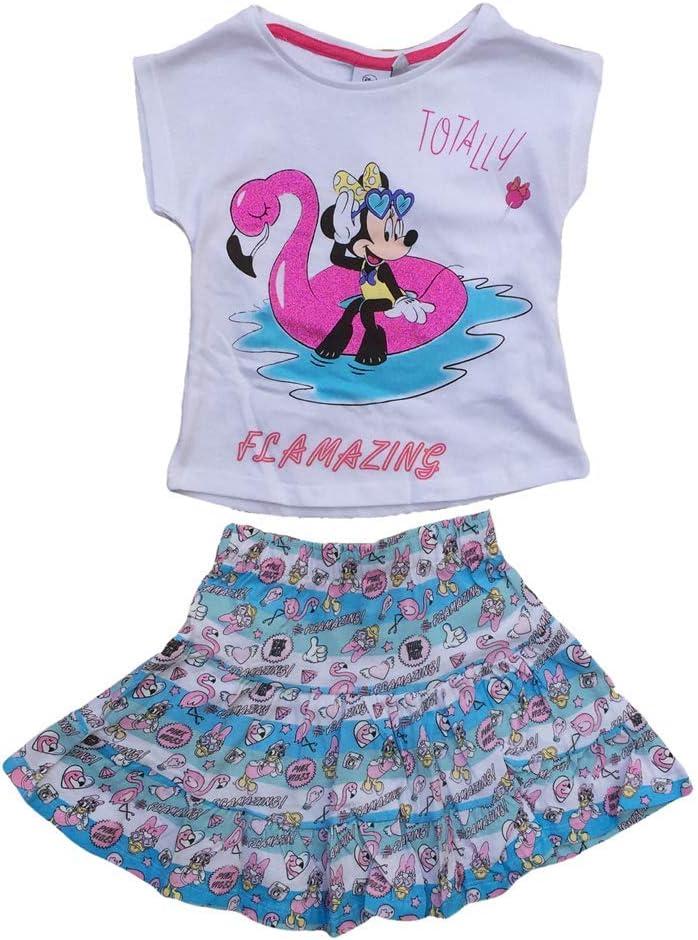 Disney SE1432CELESTE - Conjunto de verano de Minnie Mouse, falda + ...