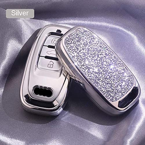3 Buttons 3D Bling Smart keyless Remote Key Fob case Cover for Audi A3 S3 RS3 A4 S4 RS4 A5 S5 RS5 A6 S6 RS6 A7 S7 RS7 A8 S8 Q3 SQ3 Q5 SQ5 Q7 TT TTs TT RS Keychain, Silver