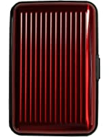 Shopping-et-Mode - Porte-cartes rouge bordeaux rigide en plastique strié à multiples rangements - Bordeaux, Plastique