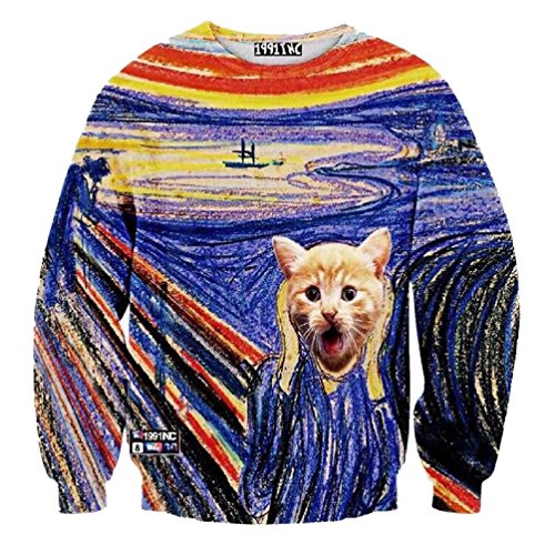 Sweatshirt The Scream Painting Sweats Sport Tops Sweater Pullovers (Large, Painting)