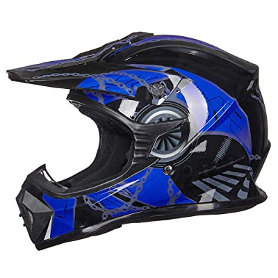 ILM Adult Youth Kids ATV Motocross Dirt Bike Motorcycle BMX MX Downhill Off-Road Helmet DOT Approved (Blue Black, Youth-S): Automotive