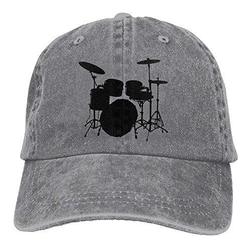 Uanqunan Rack Drum Unisex Cotton Denim Baseball Cap Adjustable Strap Low Profile Plain Hats Ash (Denim And Diamonds Outfit Ideas)