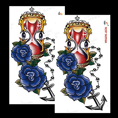 Amazon.com : Oottati 2018 Waterproof Color Hourglass Blue Rose Temporary Tattoo Sticker (2 Sheets) TF269 : Beauty