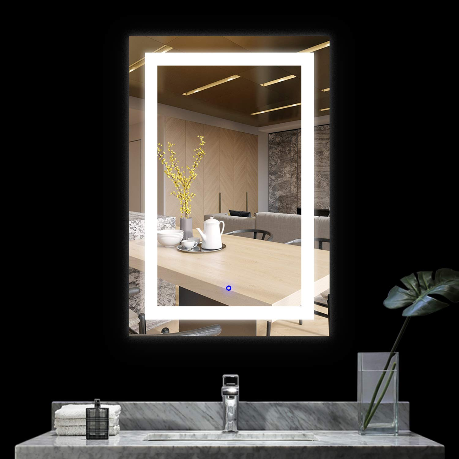 BATH KNOT LED Bathroom Makeup Vanity Mirror with Lights-Wall Mounted Backlit Mirror, Vanity Lighted Mirror with ETL Certification for Whole Mirror, 24 x 36 Inch