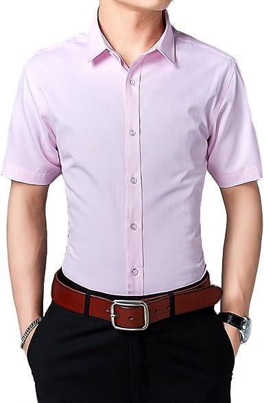 Camisa de Mangas Cortas para Hombre Camisas Clásicas de Negocios de Ocio Slim Fit Rosa 5XL: Amazon.es: Ropa y accesorios