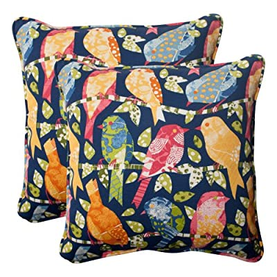 Pillow Perfect Outdoor Ash Hill Corded Throw Pillow, 18.5-Inch, Navy, Set of 2 - Includes two (2) outdoor pillows, resists weather and fading in sunlight; Suitable for indoor and outdoor use Plush Fill - 100-percent polyester fiber filling Edges of outdoor pillows are trimmed with matching fabric and cord to sit perfectly on your outdoor patio furniture - patio, outdoor-throw-pillows, outdoor-decor - 61Ix4pBOs6L. SS400  -
