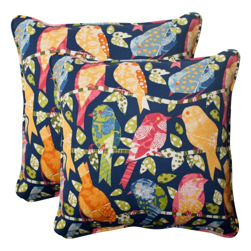 Pillow Perfect Outdoor Ash Hill Corded Throw Pillow, 18.5-Inch, Navy, Set of 2