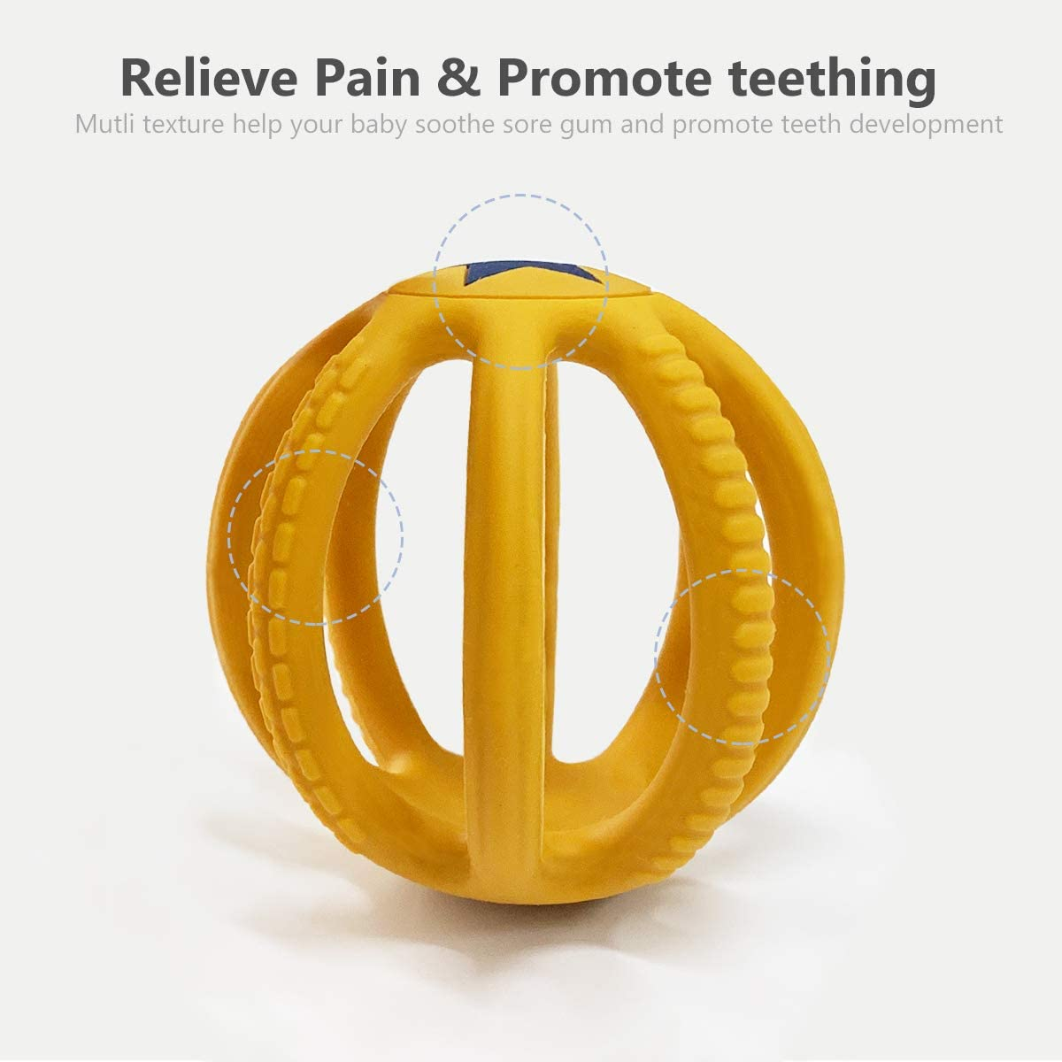 Baby Teething Toys for Babies 0-6 Months /& 6-12 Months Silicone Baby Teether to Exercise Grasping /& 3D Cognition Massage Gums /& Soothe Teething Yellow