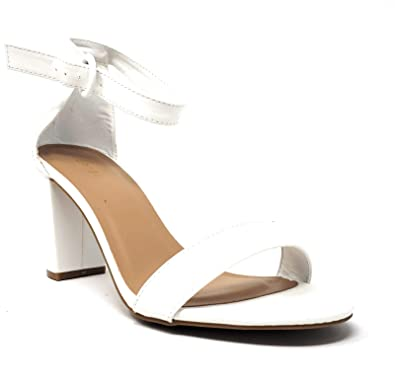 c0ee8e535761e BAMBOO Women's Block Heel Sandal with Ankle Strap, White, 10.0 B US