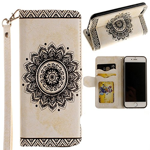 Price comparison product image Samsung S8 Flower Wallet Case-Auroralove White Galaxy S8 Classic Ethnic Mandala Floral PU Leather Card Slot Kickstand Case with Leather Strip for Girls Women(Samsung Galaxy S8,  White)