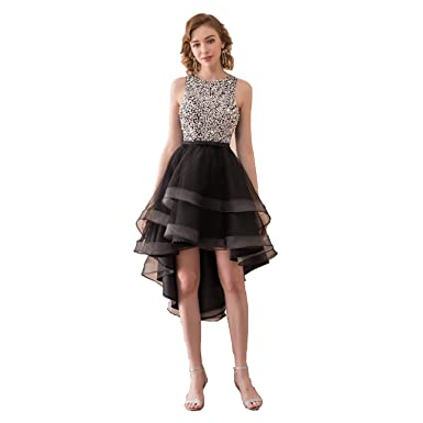 dd14fdf1866f Meibri Scoop Neck Homecoming Dresses High-Low Gown Prom Dresses For Girls  Party