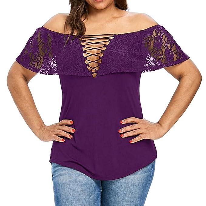FAMILIZO_Camisetas Mujer Tallas Grandes ❤️XL~5XL Camisetas