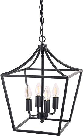 Homenovo Lighting Marden 4 Light Chandelier Industrial Style Lighting For Entryway Hallway And Dining Room Matte Black Finish