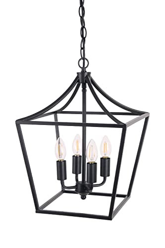Homenovo Lighting Marden 4-Light Chandelier, Industrial Style Lighting for Entryway,Hallway and Dining Room – Matte Black Finish