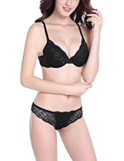 Bluewhalebaby Sexy Push Up Bras Set Transparent Underwear Lingerie Lace Bra    Matching Panty for Women 57f5aac33