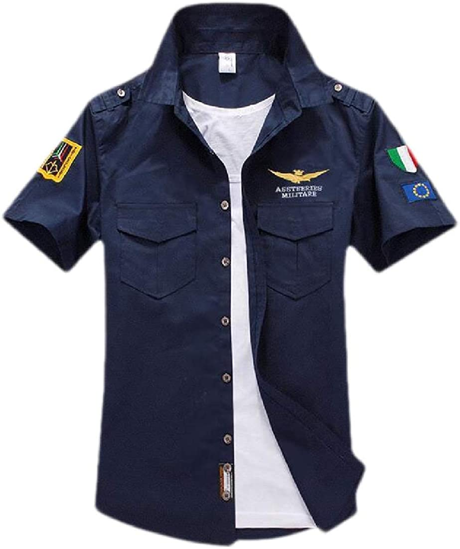 Domple Men Military Outdoor Classic Cotton Short Sleeve Embroidery Print Shirts