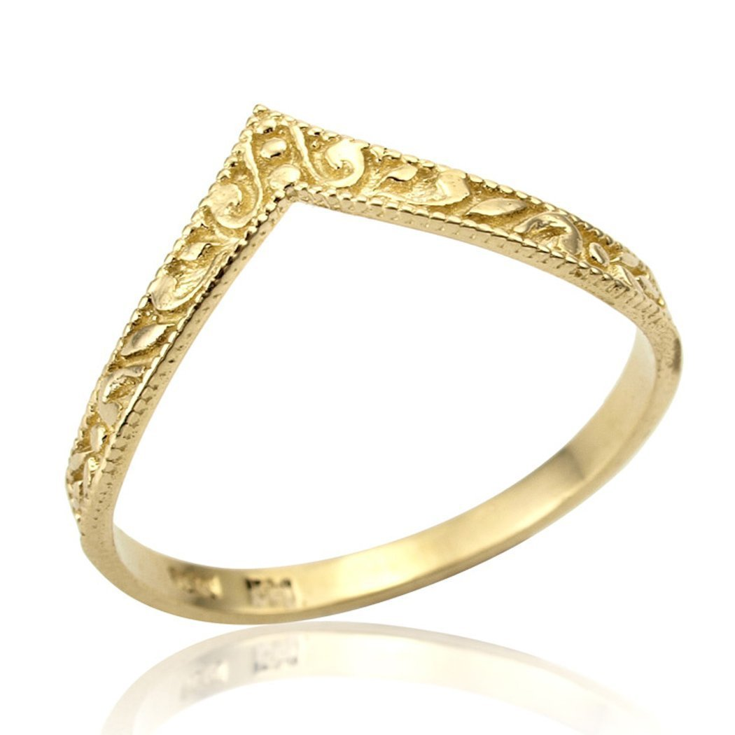 Hand Crafted Dainty Chevron V shape Stackable Wedding Ring Designer Promise Anniversary Band SIZE 6
